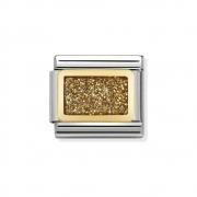 03028037 Elegance Gold Glitter Nomination schakel emaille met goud