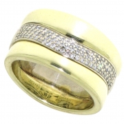 12.7 gram brede ring met 0.30 crt. briljant tweede hands