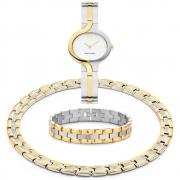 Voordelige combinatie bicolour titanium horloge-armband-collier