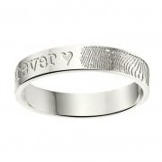 ZREV01 4 mm zilveren trouwringen met vingerafdruk