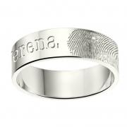 ZREV02 6 mm zilveren trouwringen met vingerafdruk