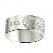 ZREV03 8 mm zilveren trouwringen met vingerafdruk