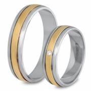 56.00232 Amorio relatieringen  - 0.02 crt. briljant - 5 mm - zilver met goud