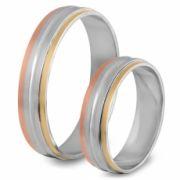 56.00196 Amorio relatieringen zilver met goud 5 mm