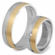 56.00208 Amorio relatieringen 0.02 crt. briljant 6 mm zilver met goud