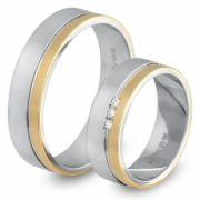 56.00220 Amorio relatieringen 0.03 briljant 6 mm zilver met goud