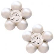 191 Oorknoppen Daisy parel met witte steen