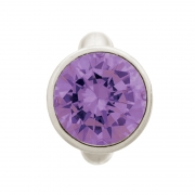 41158-1 Charm Round Amethyst Dome Endless Silver