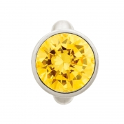 41158-5 Round Citrine Dome Silver Charm Endless