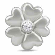 41305 Endless charm white heart flower silver