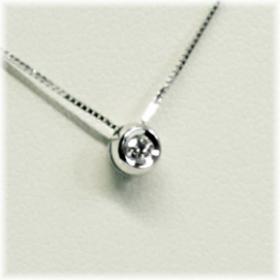 0269-003 18 krt. witgouden hanger met 0.03 crt. briljant met collier