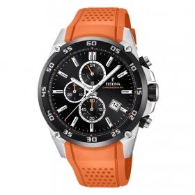 F20330-4 Oranje boven stalen herenhorloge Festina