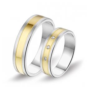 0601 Alliance trouwringen met 0,06 crt. briljant 5 mm