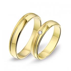 1406 Alliance trouwringen met 0,04 crt. briljant 4 mm