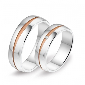 2922 Alliance trouwringen met 0,01 crt. briljant 6 mm