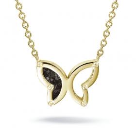 606GS as met hars in verguld zilveren choker vlinder