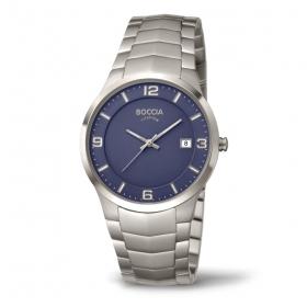 3561-04 elegant herenhorloge met blauwe plaat Boccia titanium
