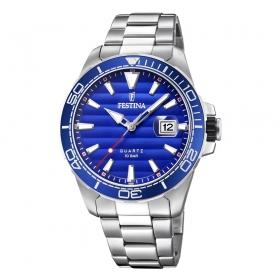 F20360-1 eenvoudig Festina herenhorloge met opvallende blauwe wijzerplaat