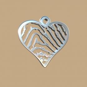 FPH901 vingerafdruk zilveren hart klein met collier Royolz