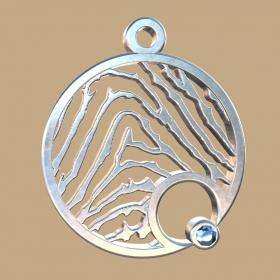 FPH903 vingerafdruk zilveren hanger rond met collier Royolz