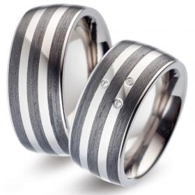 52484 carbon met titanium trouwringen Titan Factory