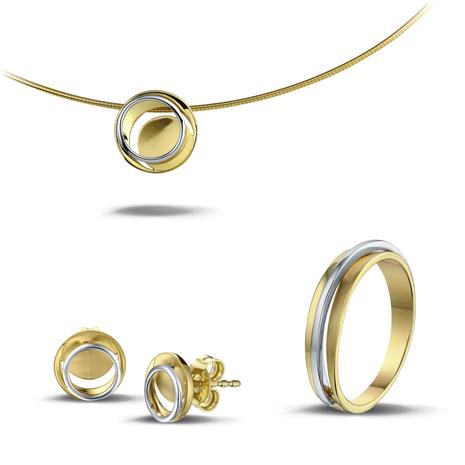 .Set Circle of Life hanger-oorknoppen en damesring