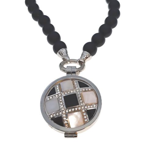 013 Onyx collier met zilveren medaillon MY iMenso
