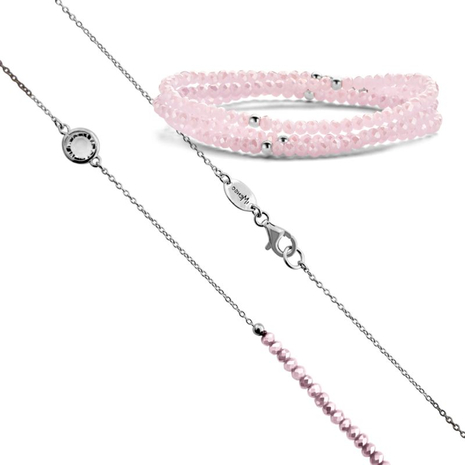 .27.0215+27.1215 MILKY PINK armband en collier MY iMenso