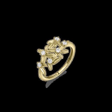 .Set VGN007 gouden choker en damesring met zirconia