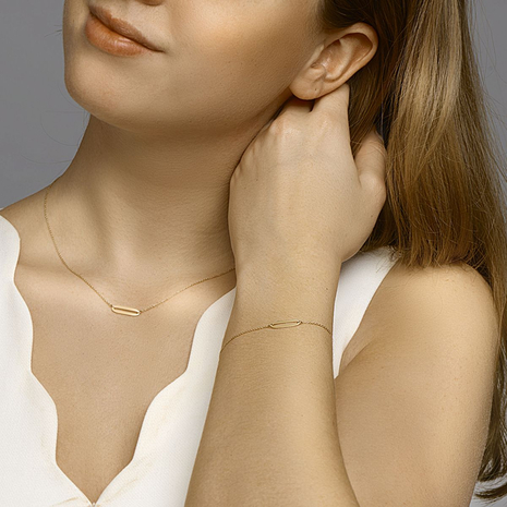 .Collier 0028407 gouden blaadjes [CLONE].Paperclip armband 40.22743 18.5 cm Goud