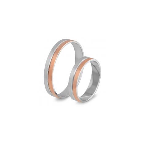 56.00184 Amorio relatieringen zilver met goud 4 mm