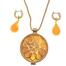 016 Geel verguld zilveren collier met oorhangers Oranje-Geel